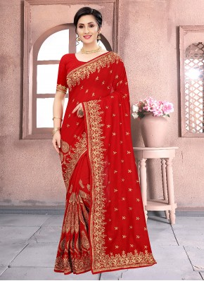 Amazing Red Embroidered Vichitra Silk Classic Designer Saree