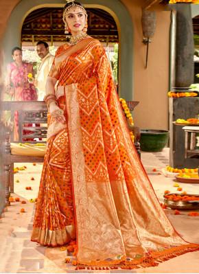 Amazing Silk Orange Weaving Classic Saree