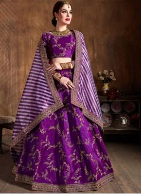 Amusing Art Silk Embroidered Purple Lehenga Choli