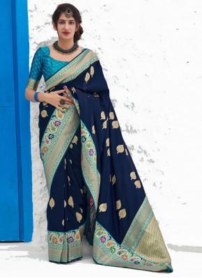 Amusing Navy Blue Weaving Silk Classic Designer Saree