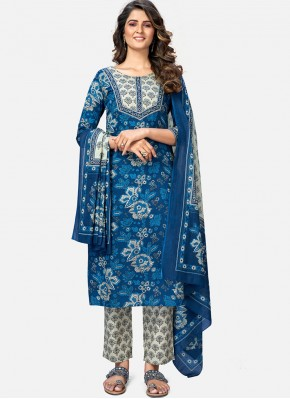 Amusing Print Blue Cotton Readymade Suit