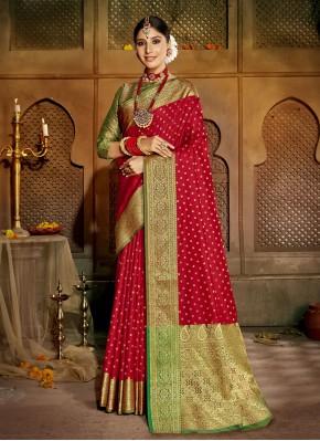 Amusing Red Festival Traditional Designer Saree