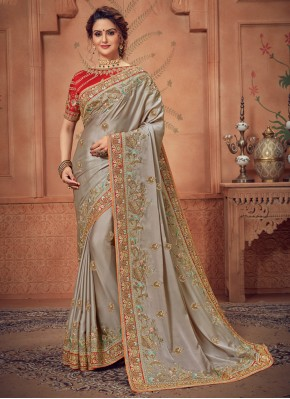 Amusing Silk Grey Traditional Designer Saree