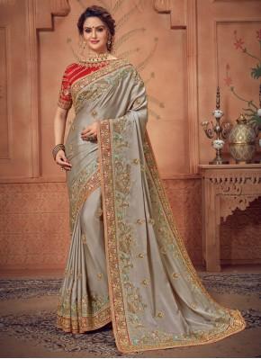 Amusing Silk Grey Traditional Designer Saree