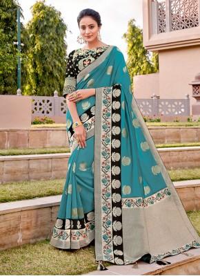 Amusing Thread Work Turquoise Classic Designer Saree