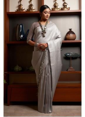 Amusing Weaving Raw Silk Traditional Designer Saree