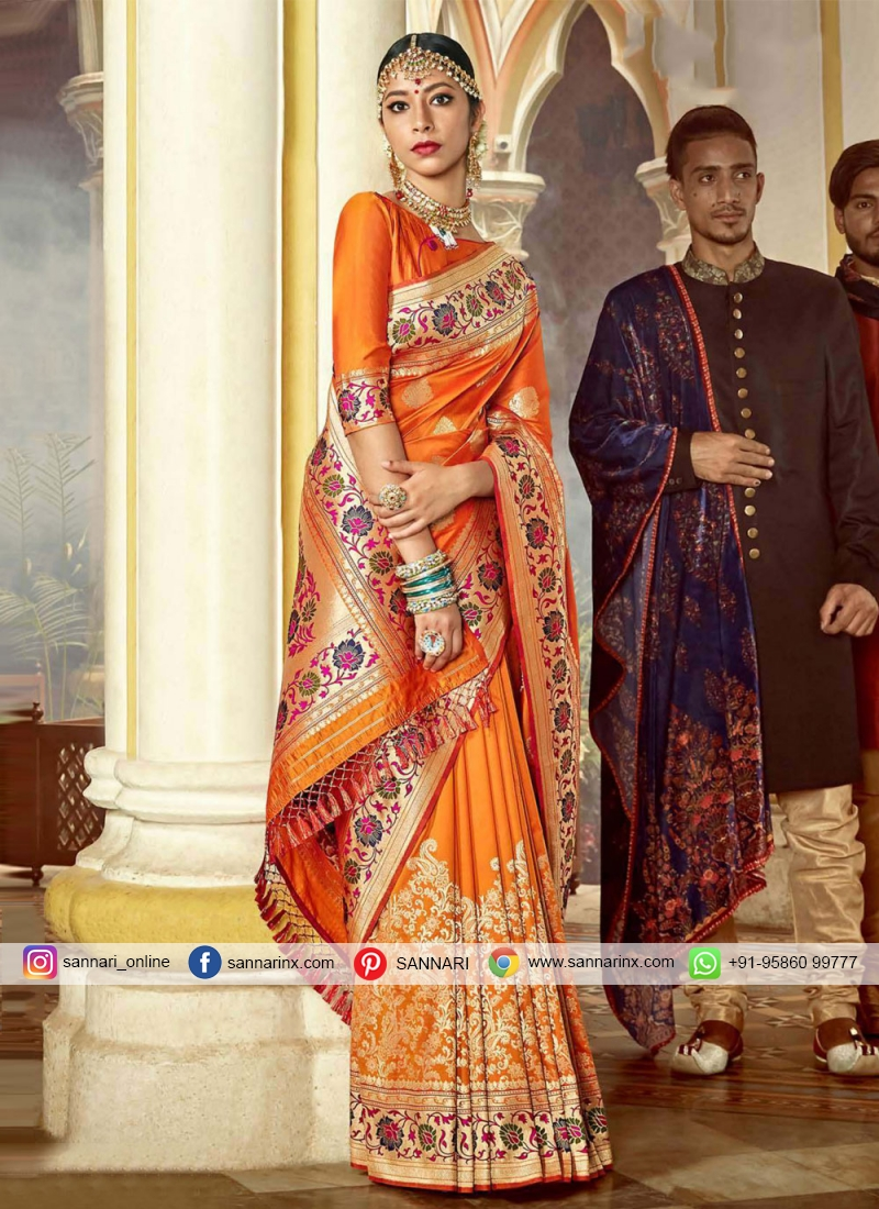 Amusing Weaving Silk Orange Traditional Designer Saree