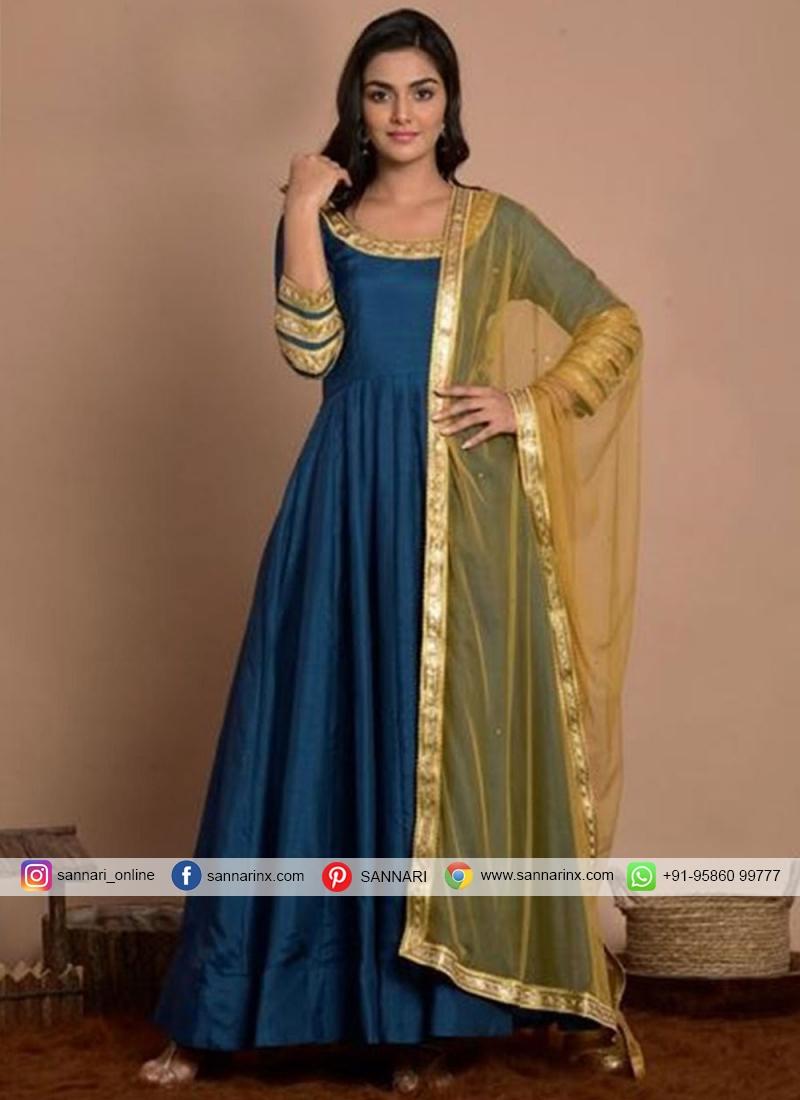 Anarkali Salwar Kameez Fancy Art Silk in Blue