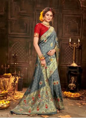 Angelic Banarasi Silk Grey Weaving Classic Saree