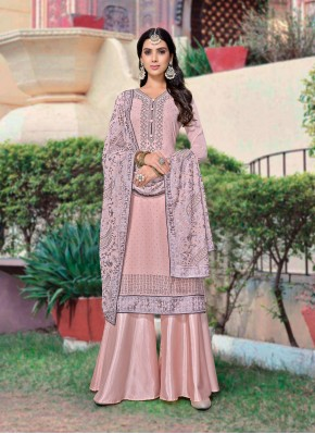 Angelic Embroidered Faux Georgette Pink Designer Palazzo Suit