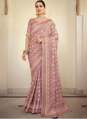 Angelic Embroidered Georgette Satin Classic Saree