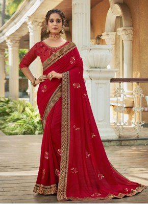 Angelic Red Designer Traditional Saree