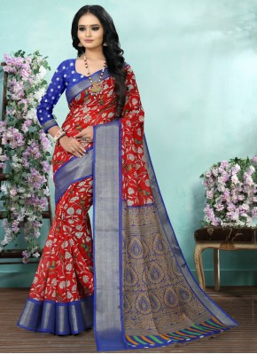 Angelic Red Festival Printed Saree