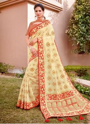 Angelic Silk Embroidered Cream Classic Designer Saree