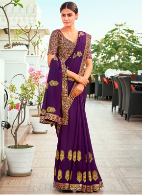 Appealing Embroidered Vichitra Silk Designer Traditional Saree