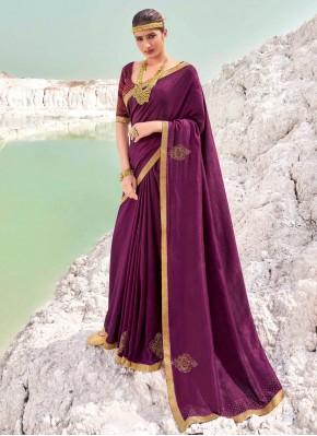 Appealing Lace Vichitra Silk Wine Classic Designer Saree