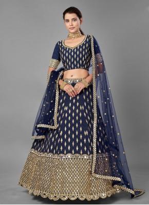 Appealing Navy Blue Art Silk Lehenga Choli