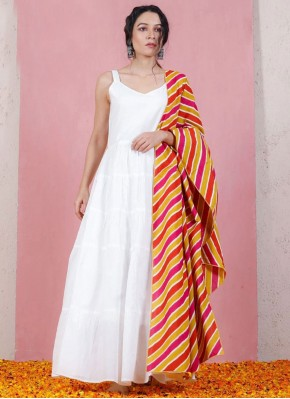 Appealing Printed Rayon Off White Anarkali Suit