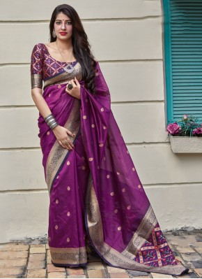 Appealing Purple Weaving Classic Saree