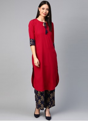 Appealing Red Faux Crepe Party Wear Kurti