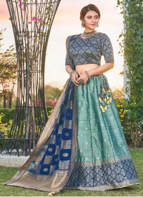 Appealing Silk Aqua Blue Weaving A Line Lehenga Choli