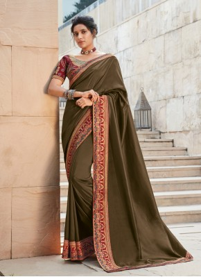 Appealing Silk Brown Traditional Saree