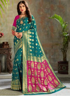 Appealing Teal Weaving Silk Saree