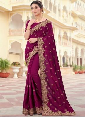 Appealing Vichitra Silk Wine Designer Traditional Saree