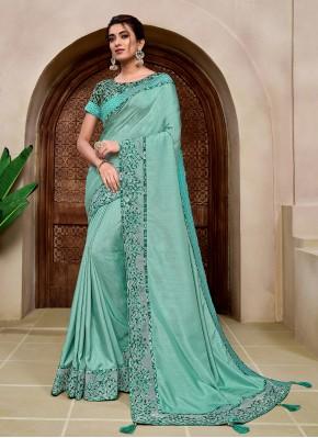 Applique Silk Classic Saree in Aqua Blue