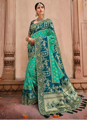 Aqua Blue Banarasi Silk Resham Designer Saree