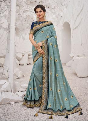 Aqua Blue Ceremonial Silk Silk Saree