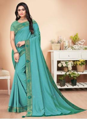 Aqua Blue Color Trendy Saree