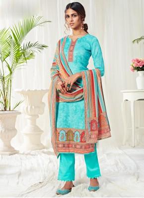 Aqua Blue Cotton Bollywood Salwar Kameez