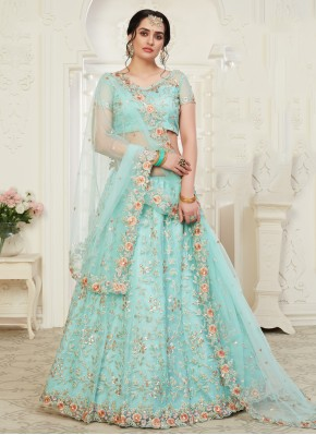 Aqua Blue Embroidered Banglori Silk Designer Lehenga Choli