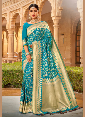 Aqua Blue Embroidered Silk Silk Saree