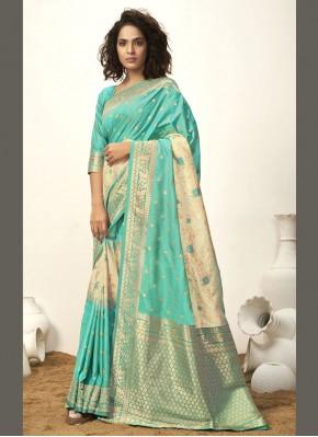 Aqua Blue Fancy Art Silk Traditional Designer Saree