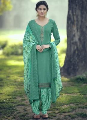 Aqua Blue Faux Crepe Embroidered Trendy Salwar Kameez