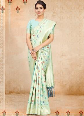 Aqua Blue Festival Art Silk Traditional Saree