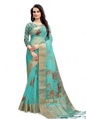 Aqua Blue Festival Printed Saree