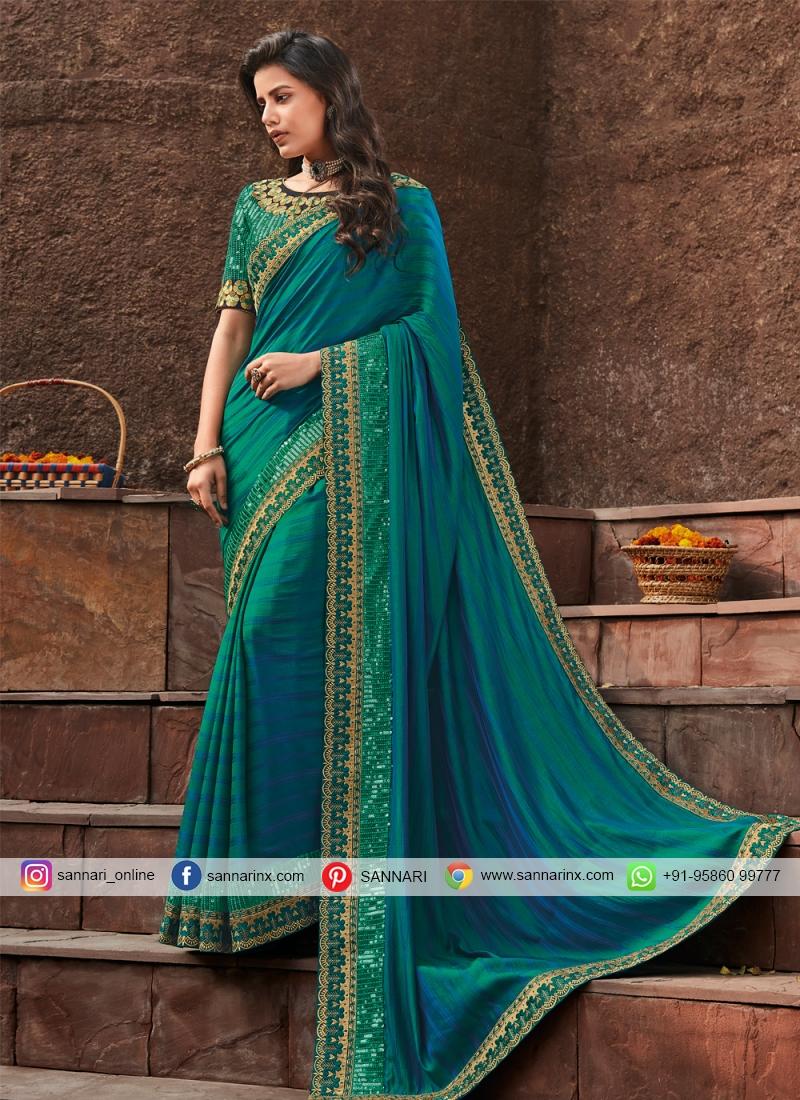 Aqua Blue Lace Silk Designer Saree