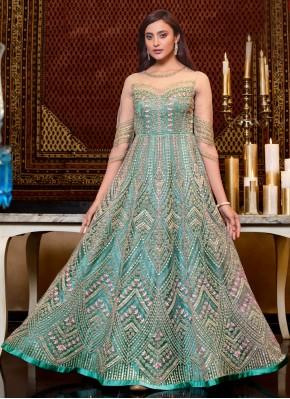 Aqua Blue Net Floor Length Anarkali Suit