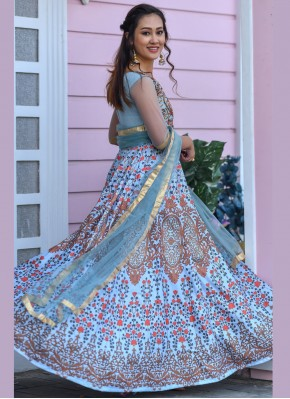 Aqua Blue Party Designer Gown