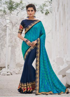 Aqua Blue Party Silk Traditional Saree
