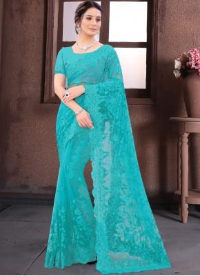 Aqua Blue Reception Net Bollywood Saree