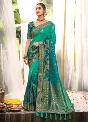 Aqua Blue Silk Embroidered Bollywood Saree