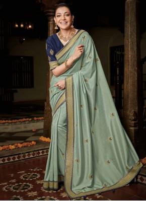 Aqua Blue Silk Weaving Classic Saree