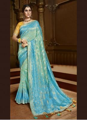 Aqua Blue Weaving Silk Contemporary Saree
