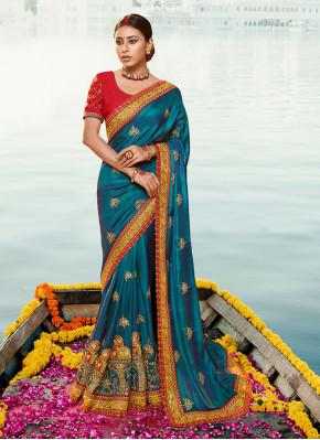 Aqua Blue Wedding Silk Classic Designer Saree