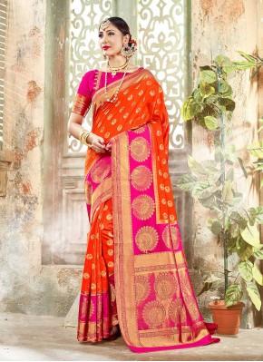 Aristocratic Banarasi Silk Orange Woven Classic Designer Saree