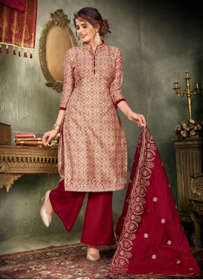 Aristocratic Embroidered Chanderi Beige and Maroon Designer Pakistani Suit